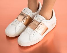 2827cad712 VALENTINO OPEN LEATHER SNEAKERS WITH METALLIC BAND Sapatilhas