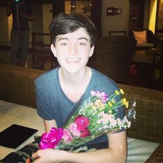 Greyson got a flower from his fans in Bali