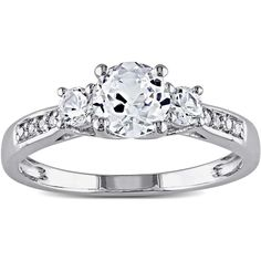 Miadora 10k White Gold Created White Sapphire and Diamond 3-Stone... (€215) ❤ liked on Polyvore featuring jewelry, rings, white, 3 stone diamond ring, round cut engagement rings, diamond band ring, white sapphire engagement rings and pave diamond ring