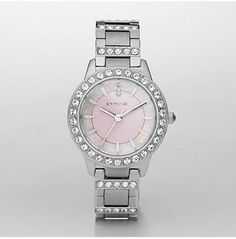 Fossil Women's ES2189 Stainless Steel Bracelet Pink Mother-Of-Pearl Glitz Analog Dial Watch $65.82