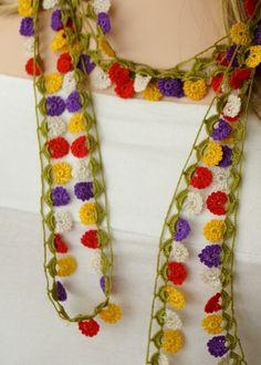 Esta es un hermosa lila, naranja, collar de la danza de colores amarillo y verde, lazo, pulsera. Usted puede usar en cualquier momento, es tan elegante. Es ganchillo con hilo de atención 100%.  Puede lavar con agua fría y jabón.  Tamaño: 200 cm (78,74) * 1 pulgada  Viene de un hogar libre de humo y mascotas  Gracias por visitarnos...  ♦-♦-♦------------------------------------------------------ Envío regular para Estados Unidos ► día de laborable de 10-25 para el día de negocios de Canadá ►…