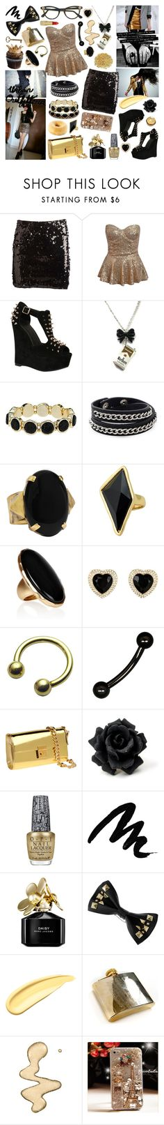 """""""I Wanna Be Next To You, Black & Gold"""" by aquabatgirl ❤ liked on Polyvore featuring Simone Perele, Pieces, Dorothy Perkins, Oxxo, Ela Stone, Belle Noel by Kim Kardashian, Kenneth Jay Lane, GUESS, Giuseppe Zanotti and OPI"""