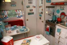 Red and white caravan interior