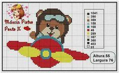 Urso avião- ponto cruz - gráfico