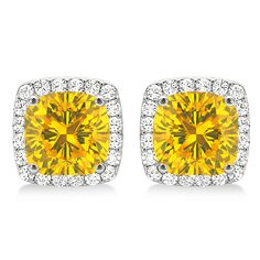 these cushion-cut yellow sapphire and diamond halo earrings are absolutely luxurious. Dress up any outfit with these gorgeous white gold cushion-cut emerald and diamond halo earrings. Sapphire Stone, Diamond Stone, Sapphire Diamond, Halo Diamond, Gold Cushions, Cushion Cut, Gemstone Earrings, Round Diamonds, Jewelry Design