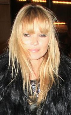 See a round-up of the best hairstyles featuring bangs, including sideswept bangs, blunt bangs, fringe and more.: Kate Moss Fringe Bangs