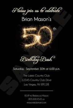 50th Birthday Party Invitation Black with by BrooklynDesignStudio
