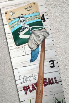 Canvas Growth Chart Custom Vintage Baseball by SweetDreamMurals, $75.00
