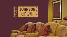 Custom Home Theater Vinyl Wall Decal with Family Name – Media Room İdeas 2020 Home Theater Basement, Basement Movie Room, Home Theater Decor, At Home Movie Theater, Home Theater Rooms, Home Theater Seating, Basement Ideas, Large Wall Decals, Vinyl Wall Decals