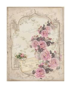 Vintage Shabby Paper Vintage Roses Rose by VintageLeChocolate