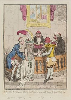 Democratic_levelling_-_Alliance a la francoise_-_or_-The_union of the Coronet and Clyster-pipe_by James Gillray. Charles James Fox and William Pitt are presiding over the wedding. James Gillray, Satirical Cartoons, William Hogarth, History Of England, Rhymes For Kids, Political Satire, National Portrait Gallery, Hand Coloring, 18th Century