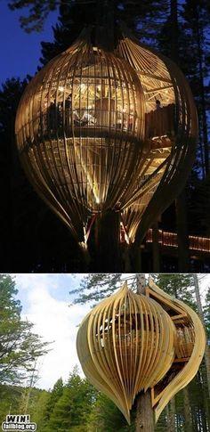 Cocoon tree house! Wat ontzettend gezellig om hier zwoele zomeravonden in door te brengen!