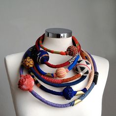 Multilayers wool and cotton statement necklace by kjoo on Etsy Jewelry Crafts, Jewelry Art, Beaded Jewelry, Jewelry Design, Textile Jewelry, Fabric Jewelry, Fabric Necklace, Crochet Necklace, Bead Crochet