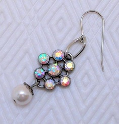 Rhinestone and Pearls Dangle Earrings by Dean Designs on #Zibbet $11.00
