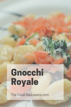 Gnocchi Royale - My favourite quick dinner of gnocchi, smoked salmon, cream cheese and spinach. So simple, easy to make, and utterly delicious! http://theusualsaucepans.com/mains/gnocchi-royale/