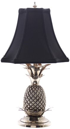 Tropical Pewter Black Shade Pineapple Table Lamp -