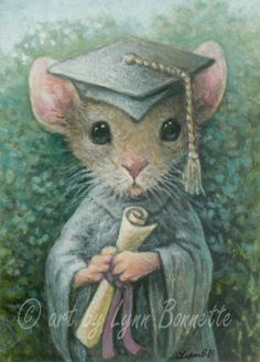"""""""Mouse Graduate"""" ~ Art by Lynn Bonnette: April 2011"""