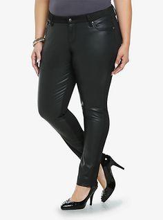 Tripp Faux Leather Front Skinny Pants | Torrid