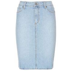 Paige Deirdre Denim Skirt (235 BAM) ❤ liked on Polyvore featuring skirts, blue, blue skirt, knee length denim skirt, denim skirt, light blue skirt and light blue denim skirt