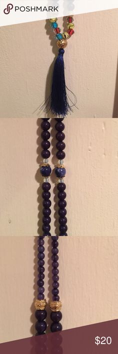 Beautiful navy necklace Navy tassel, multi colored beads, navy beads Jewelry Necklaces