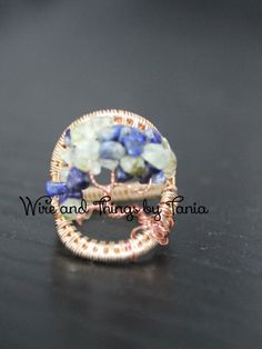 Tree of Life wire wrapped prehnite and lapis Lazuli ring by WireandthingsByTania on Etsy