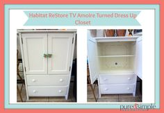 Metrolina ReStores Blog: Dress Up Closet From TV Armoire.  Organize your children's costumes by repurposing a TV armoire.
