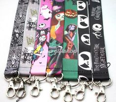 The Nightmare Before Christmas Jack and Sally Skulls Keychain Lanyard ID Holder