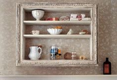 Fantastic Bathroom Shelf Decorating Ideas ... a great way to repurpose a nice large frame!