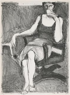 Seated Woman Drinking from a Cup By Richard Diebenkorn ,1965