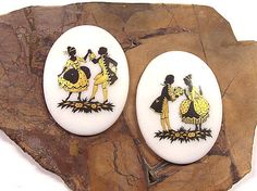 VINTAGE Glass Decal Cabochons Victorian Courting by punksrus
