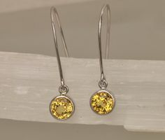 Yellow Sapphire 14k White Gold Bezel Set Dangle by PristineJewelry