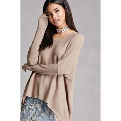 Forever21 Oversized Dolman Sweater ($33) ❤ liked on Polyvore featuring tops, sweaters, iced mocha, long tops, oversized sweater, brown top, forever 21 sweaters and forever 21 tops