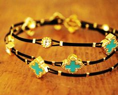 CLOVER  BRACELETS with turquoise , diamond look crystals,  also available in black #bracelet #jewelry www.loveitsomuch.com