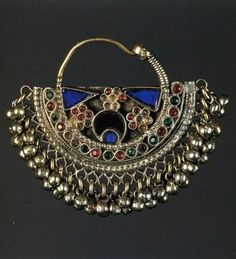 Silver Indian tribal silver nose ring with enamel
