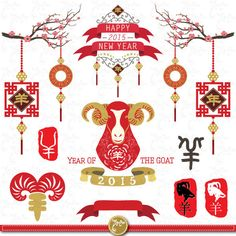 """Year Of The Goat 2015 """"CHINESE NEW YEAR""""clipart pack, Goat Year, Chinese New Year, Calligraphy, Goat, Lantern, Scrapbook,Invitations, Cny011"""