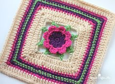 3D Flower Granny Square, free crochet pattern by Repeat Crafter Me
