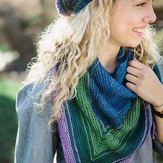 Reverb Shawl Knitting Pattern. Uses SweetGeorgia Party of 5 Gradient Yarns