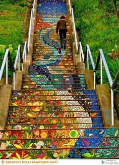 """""""These tiled stairs run up a total of 163 steps at 16th and Moraga Street in San Francisco. Over 300 neighborhoods joined in to create the spectacle, leading to an absolutely beautiful result"""""""