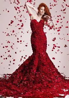 Valentine's Day dress made from 1,725 flowers