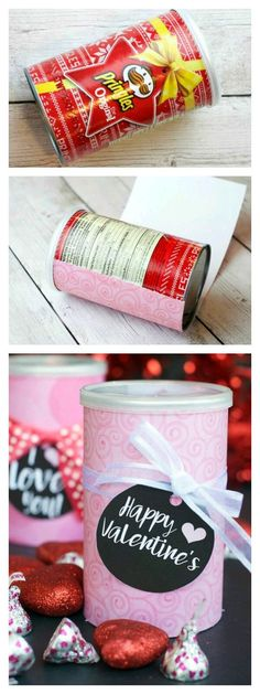 Valentine& Gift Idea -Would be great for Christmas gifts too! Valentine& Gift Idea -Would be great for Christmas gifts too! Valentine& Gift Idea -Would be great for Christmas gifts too! Valentines Gift Box, Cat Valentine, Valentine Day Love, Valentine Day Crafts, Holiday Crafts, Christmas Gifts, Pringles Can, Valentine's Day Diy, Diy Birthday