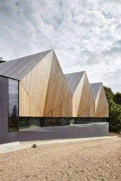 Architecture Origami, Timber Architecture, Residential Architecture, Contemporary Architecture, Architecture Design, English Architecture, Contemporary Design, Duggan Morris, Wooden Facade