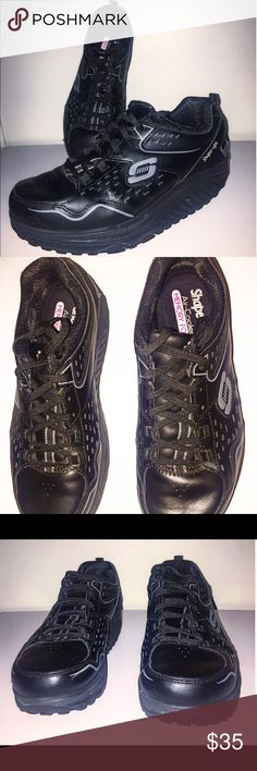20a3be6e280f Skechers Shape-Ups Black Leather Black Skechers Shape UPS Women s Only worn  a couple times in carpet Black with grey logo Leather Synthetic Upper  Skechers ...