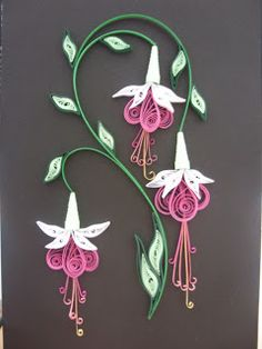 quilling-this is for you to see Julie bean. :-) very pretty flower design. - Crafts All Over Arte Quilling, Paper Quilling Flowers, Paper Quilling Patterns, Origami And Quilling, Quilled Paper Art, Quilling Paper Craft, Paper Crafts, Quiling Paper, Quilled Roses