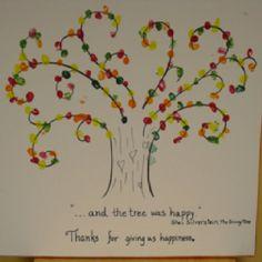 Finger print tree to thank an outgoing preschool art teacher.