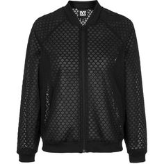 Hexagon Mesh Bomber Jacket by Ivy Park ($82) ❤ liked on Polyvore featuring outerwear, jackets, black, mesh jacket, topshop jacket, zip front jacket, bomber style jacket and mesh bomber jacket