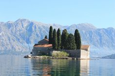 Small island in Montenegro bay