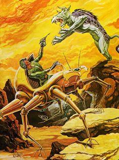 Fantastic Fanzine cover by Robert Kline. Arte Sci Fi, Sci Fi Art, Sience Fiction, Psychedelic Space, Vintage Robots, Graffiti, Arte Tribal, Classic Sci Fi, Retro Futuristic