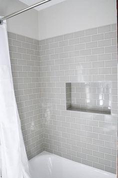 Shower niche using subway tiles Hall Bathroom, Upstairs Bathrooms, Bathroom Interior, Bathroom Showers, White Bathrooms, Bathroom Tubs, Bathroom Grey, Grey Tile Shower, Master Bathrooms