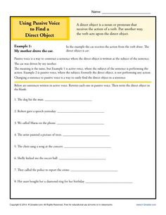 Passive Voice to Find a Direct Object | Grammar Worksheets