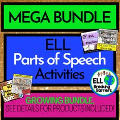 ELL Parts of Speech, Growing Mega Bundle! by ELL Breaking Barriers Adverbs, Prepositions, Eight Parts Of Speech, Teaching Character Traits, Parts Of Speech Activities, Progress Monitoring, Ell, Language, Student